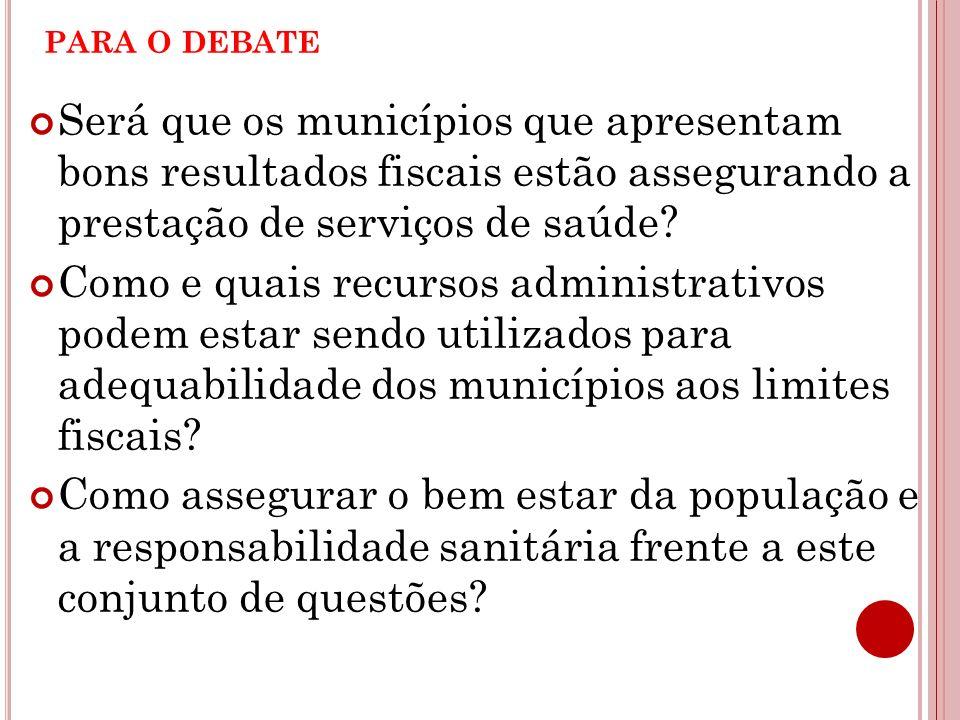 para o debate Será que os municípios que apresentam bons resultados fiscais estão assegurando a prestação de serviços de saúde