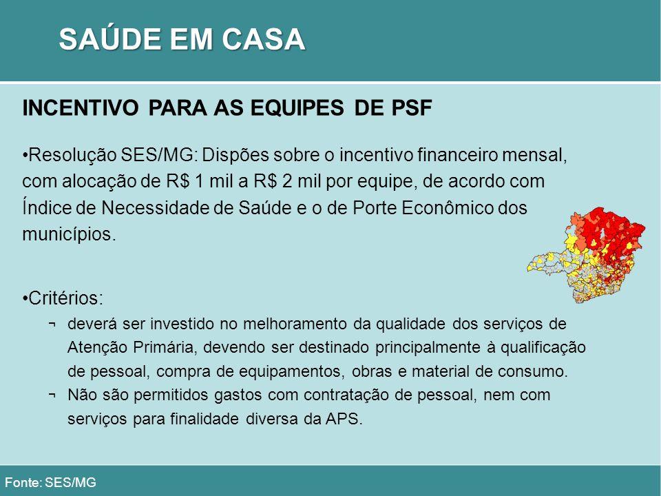SAÚDE EM CASA INCENTIVO PARA AS EQUIPES DE PSF