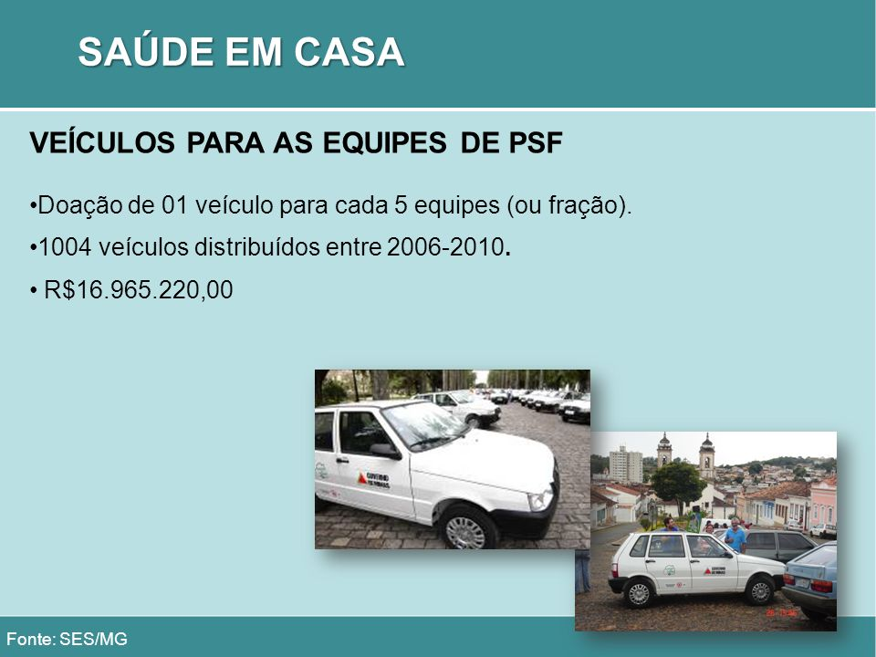 SAÚDE EM CASA VEÍCULOS PARA AS EQUIPES DE PSF