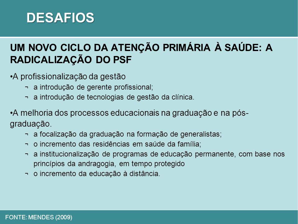DESAFIOS UM NOVO CICLO DA ATENÇÃO PRIMÁRIA À SAÚDE: A RADICALIZAÇÃO DO PSF. A profissionalização da gestão.