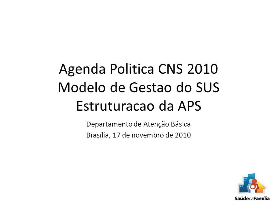 Agenda Politica CNS 2010 Modelo de Gestao do SUS Estruturacao da APS
