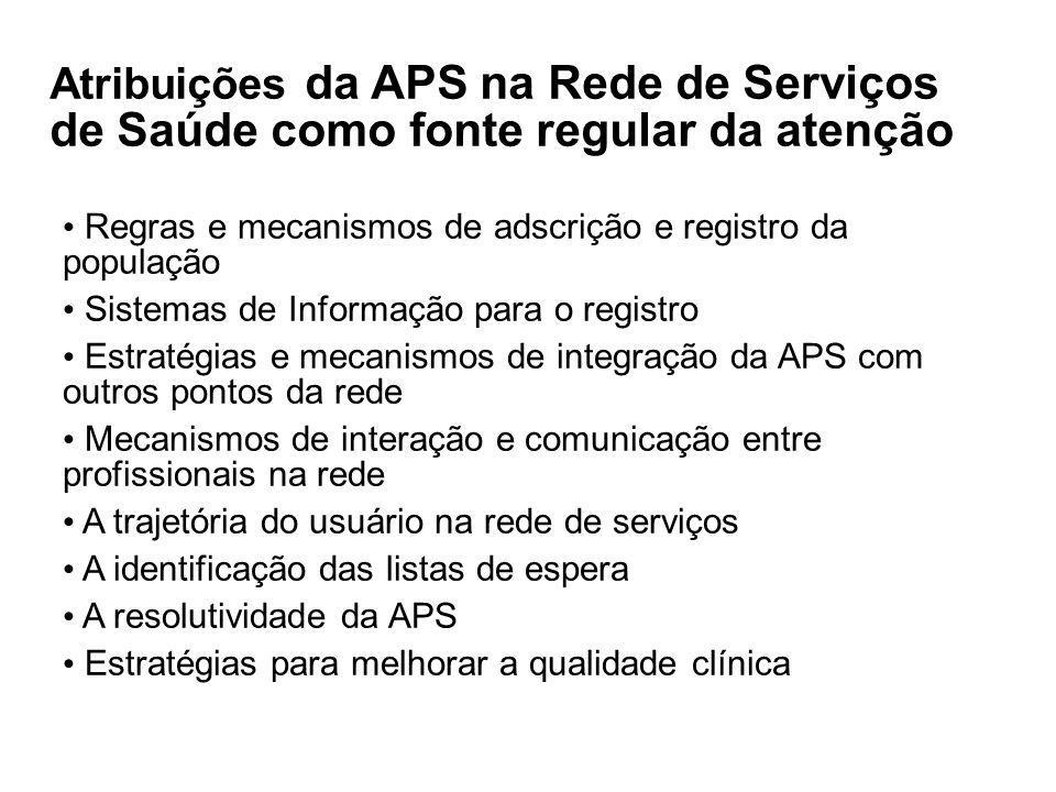 09/20/0909/20/09. 03/04/10. Atribuições da APS na Rede de Serviços de Saúde como fonte regular da atenção.