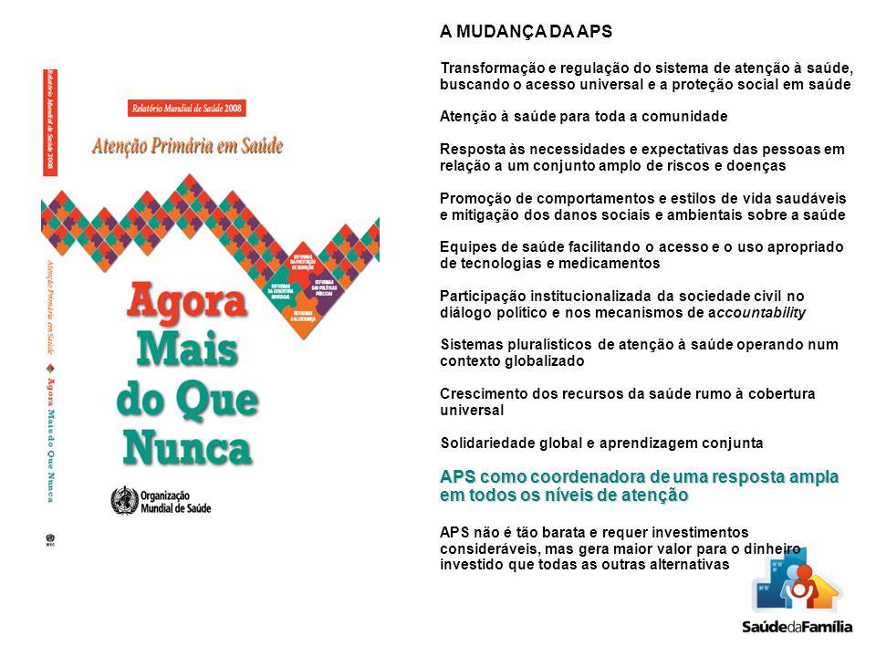 A MUDANÇA DA APS Transformação e regulação do sistema de atenção à saúde, buscando o acesso universal e a proteção social em saúde.