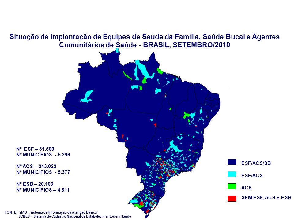 Situação de Implantação de Equipes de Saúde da Família, Saúde Bucal e Agentes Comunitários de Saúde - BRASIL, SETEMBRO/2010