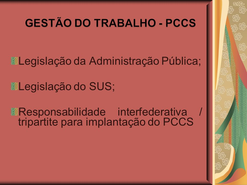 GESTÃO DO TRABALHO - PCCS