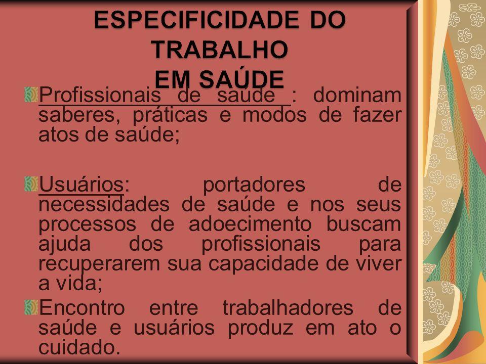 ESPECIFICIDADE DO TRABALHO EM SAÚDE