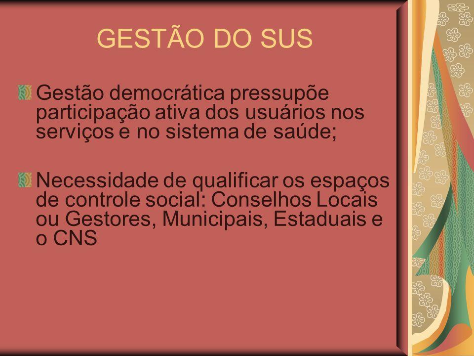 GESTÃO DO SUSGestão democrática pressupõe participação ativa dos usuários nos serviços e no sistema de saúde;