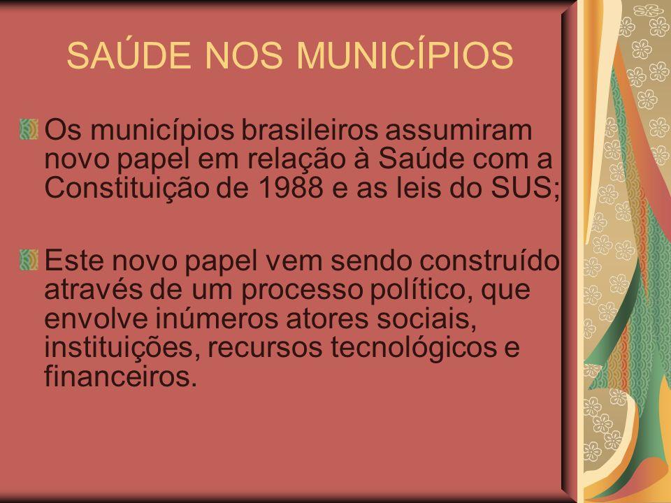 SAÚDE NOS MUNICÍPIOS Os municípios brasileiros assumiram novo papel em relação à Saúde com a Constituição de 1988 e as leis do SUS;