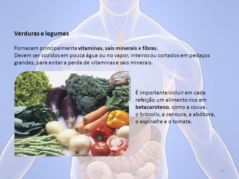 Verduras e legumes Fornecem principalmente vitaminas, sais minerais e fibras.