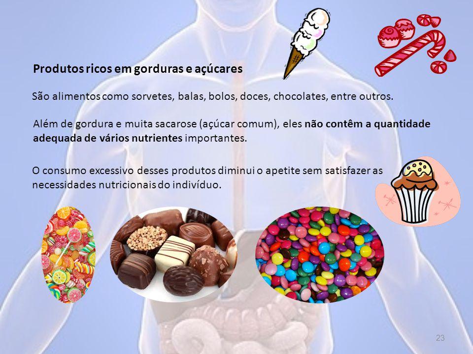 Produtos ricos em gorduras e açúcares