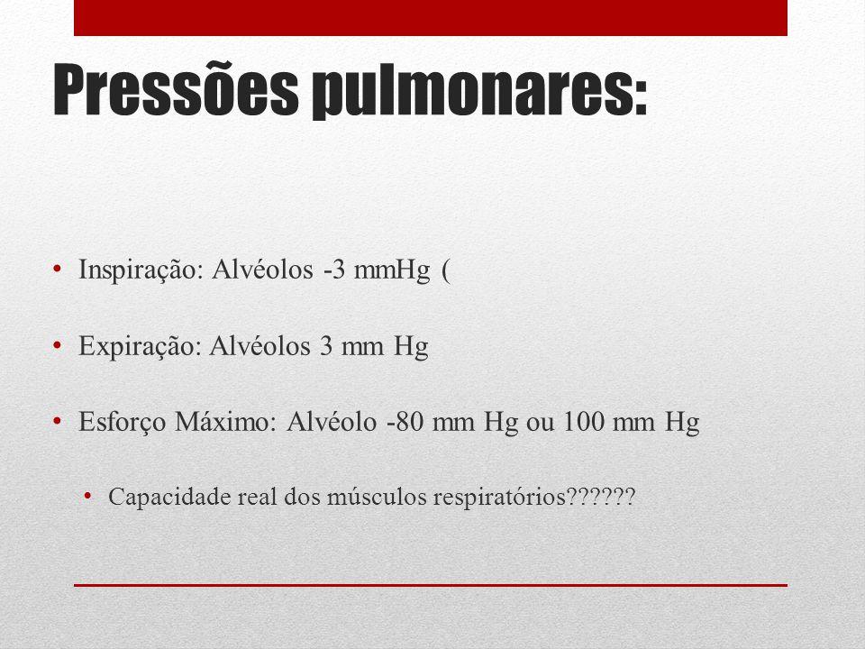 Pressões pulmonares: Inspiração: Alvéolos -3 mmHg (