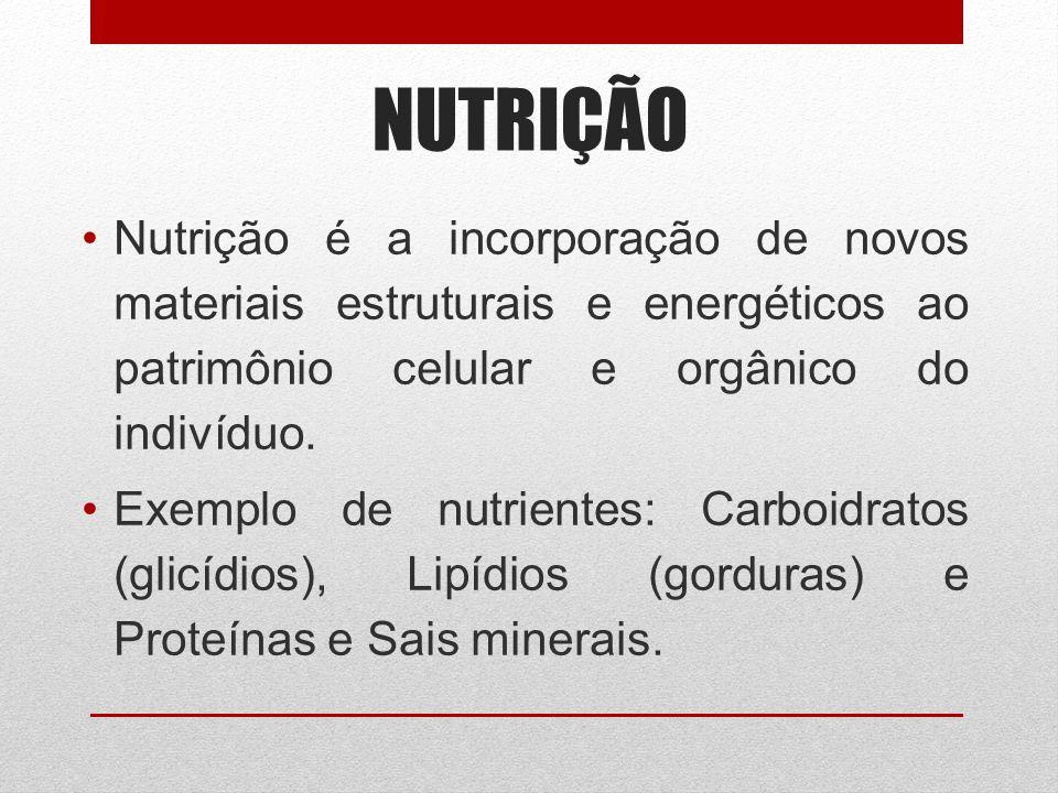 NUTRIÇÃO Nutrição é a incorporação de novos materiais estruturais e energéticos ao patrimônio celular e orgânico do indivíduo.