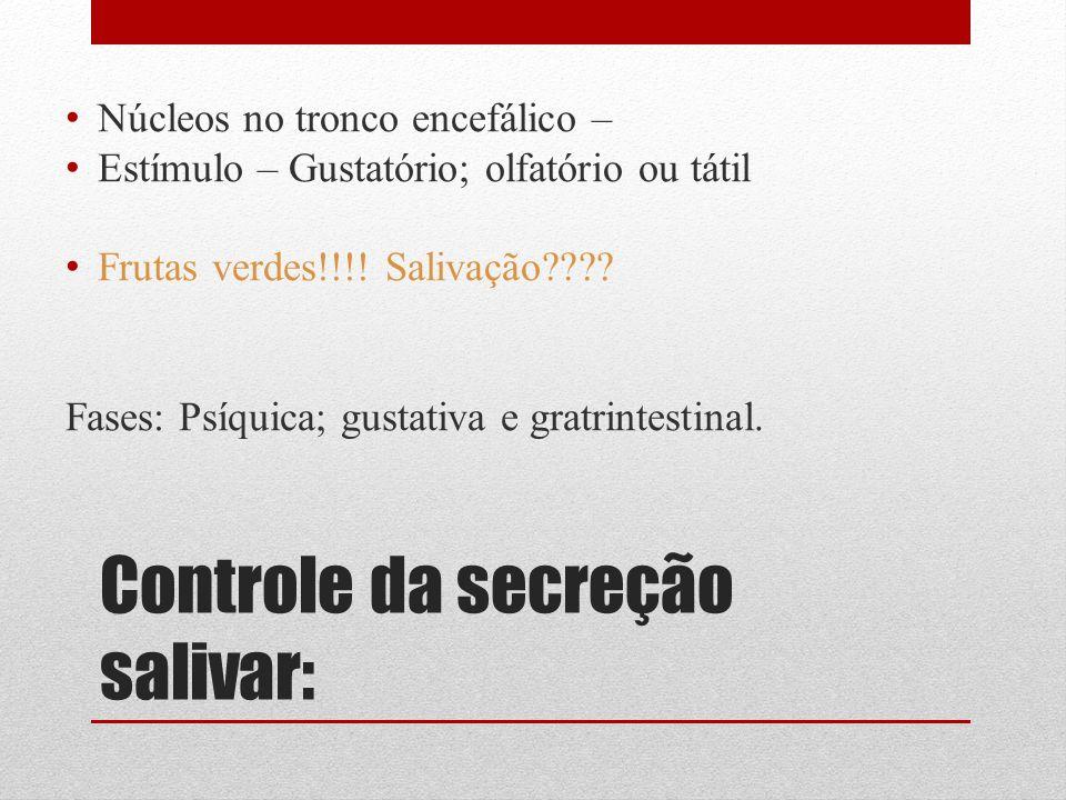 Controle da secreção salivar: