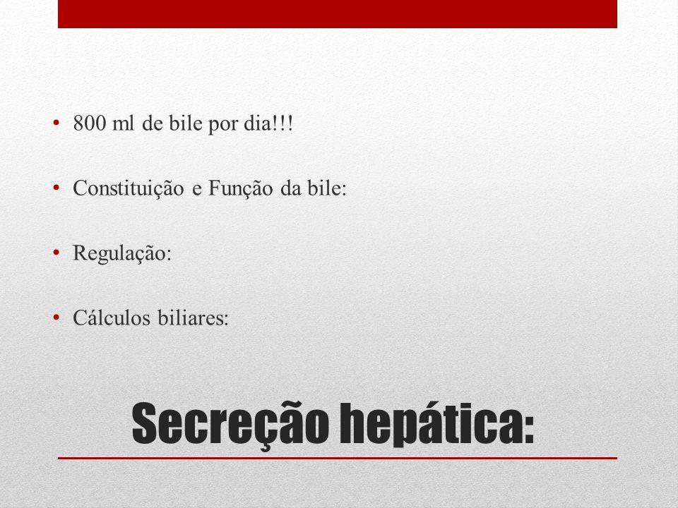Secreção hepática: 800 ml de bile por dia!!!