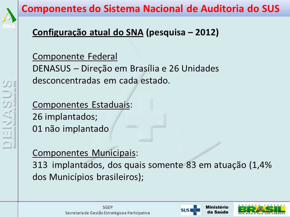 Componentes do Sistema Nacional de Auditoria do SUS