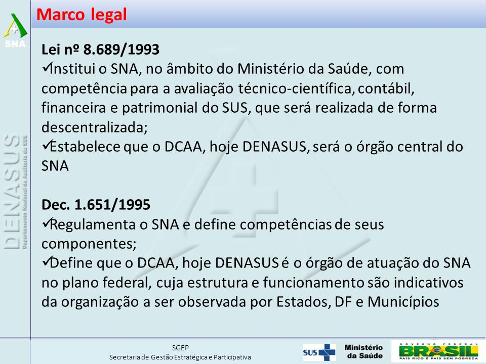 Marco legal Lei nº 8.689/1993.