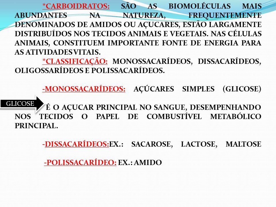 *CARBOIDRATOS: SÃO AS BIOMOLÉCULAS MAIS ABUNDANTES NA NATUREZA, FREQUENTEMENTE DENOMINADOS DE AMIDOS OU AÇUCARES, ESTÃO LARGAMENTE DISTRIBUÍDOS NOS TECIDOS ANIMAIS E VEGETAIS. NAS CÉLULAS ANIMAIS, CONSTITUEM IMPORTANTE FONTE DE ENERGIA PARA AS ATIVIDADES VITAIS. *CLASSIFICAÇÃO: MONOSSACARÍDEOS, DISSACARÍDEOS, OLIGOSSARÍDEOS E POLISSACARÍDEOS. -MONOSSACARÍDEOS: AÇÚCARES SIMPLES (GLICOSE) É O AÇUCAR PRINCIPAL NO SANGUE, DESEMPENHANDO NOS TECIDOS O PAPEL DE COMBUSTÍVEL METABÓLICO PRINCIPAL. -DISSACARÍDEOS:EX.: SACAROSE, LACTOSE, MALTOSE -POLISSACARÍDEO: EX.: AMIDO