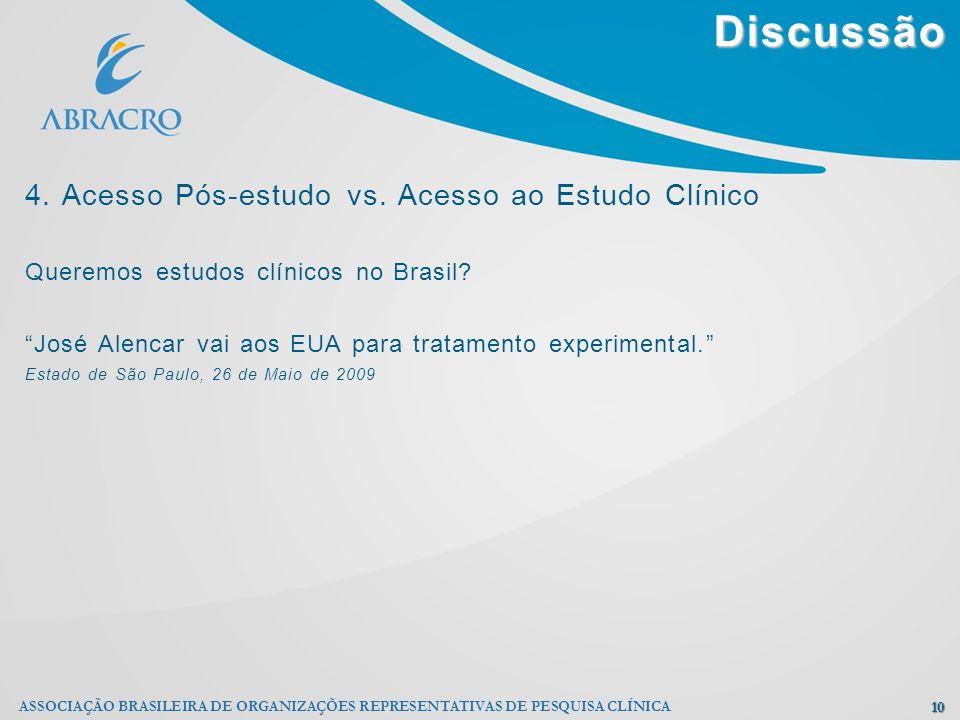 Discussão 4. Acesso Pós-estudo vs. Acesso ao Estudo Clínico