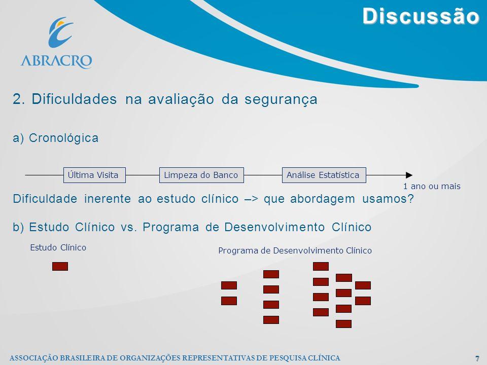 Discussão 2. Dificuldades na avaliação da segurança a) Cronológica