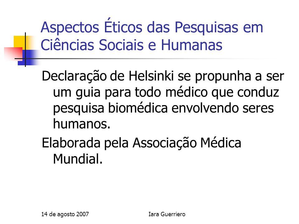Aspectos Éticos das Pesquisas em Ciências Sociais e Humanas