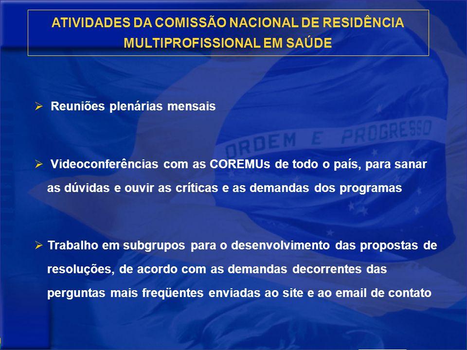 ATIVIDADES DA COMISSÃO NACIONAL DE RESIDÊNCIA MULTIPROFISSIONAL EM SAÚDE