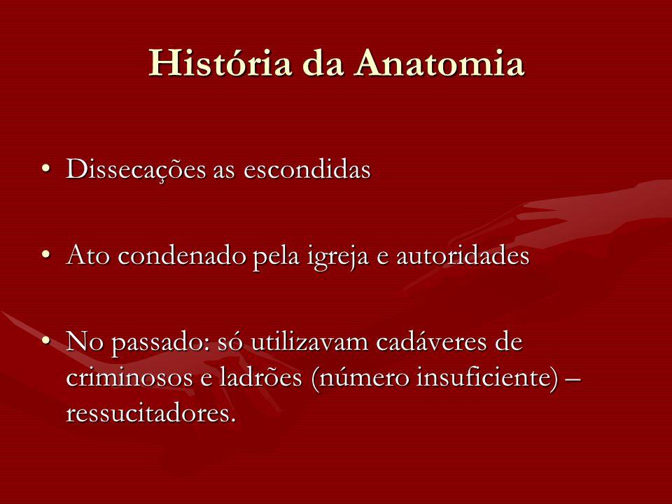 História da Anatomia Dissecações as escondidas