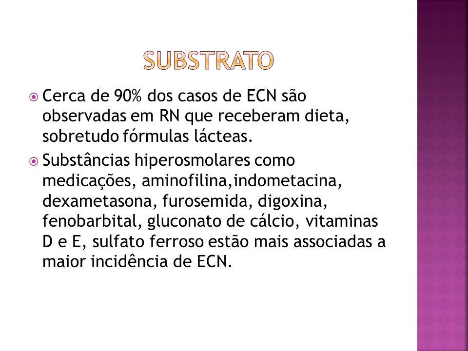 SUBSTRATO Cerca de 90% dos casos de ECN são observadas em RN que receberam dieta, sobretudo fórmulas lácteas.