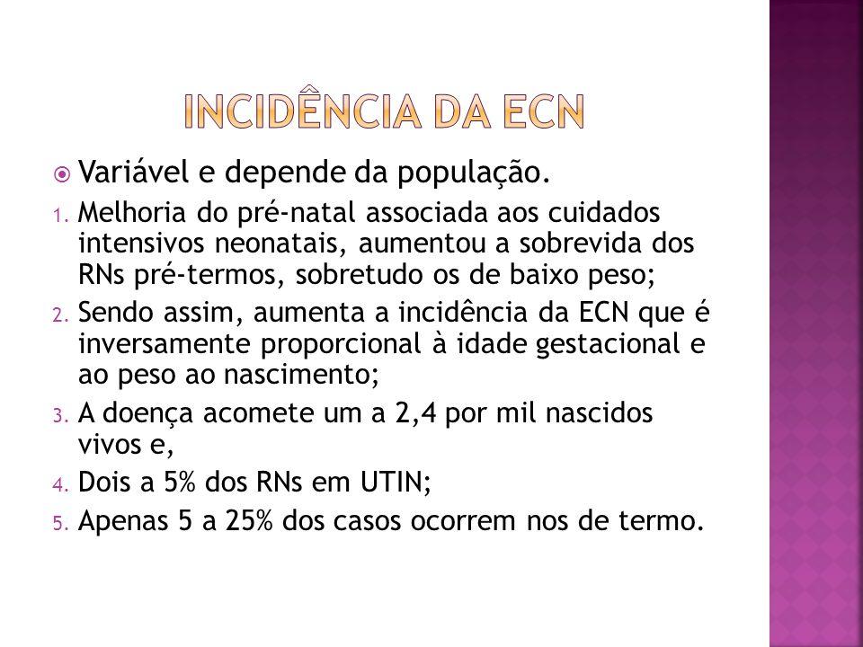 INCIDÊNCIA DA ECN Variável e depende da população.