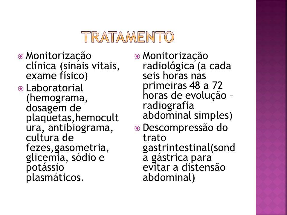 TRATAMENTO Monitorização clínica (sinais vitais, exame físico)