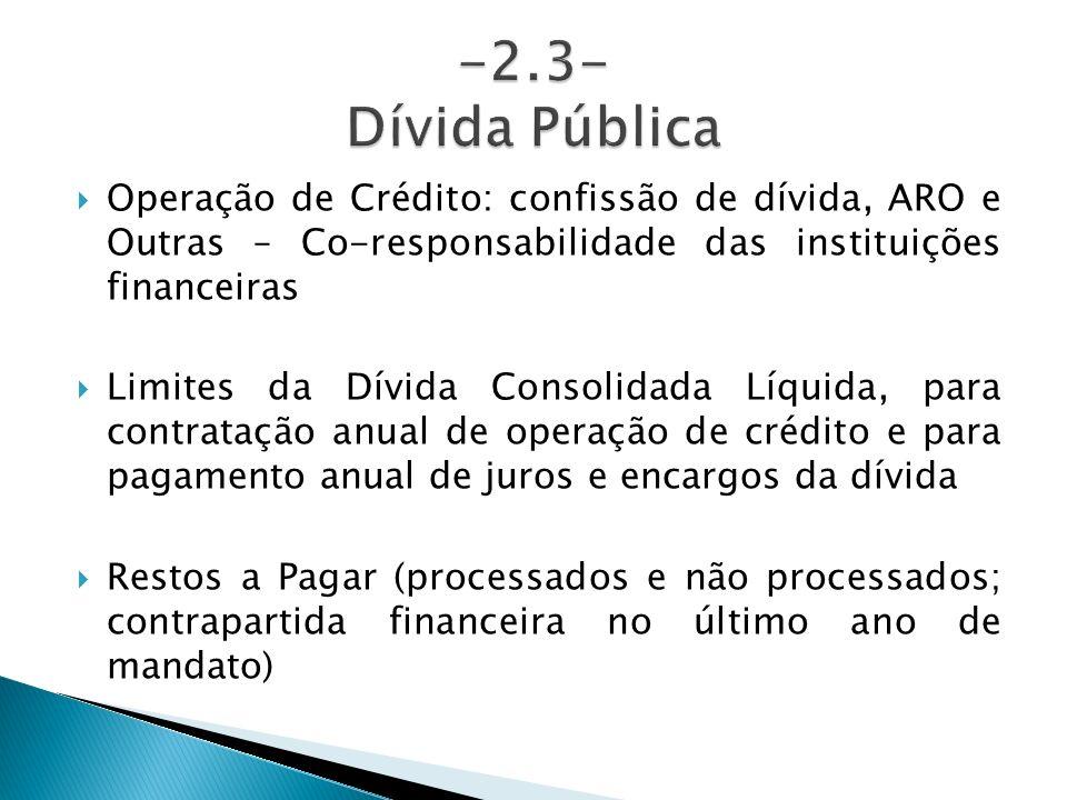 -2.3- Dívida PúblicaOperação de Crédito: confissão de dívida, ARO e Outras – Co-responsabilidade das instituições financeiras.