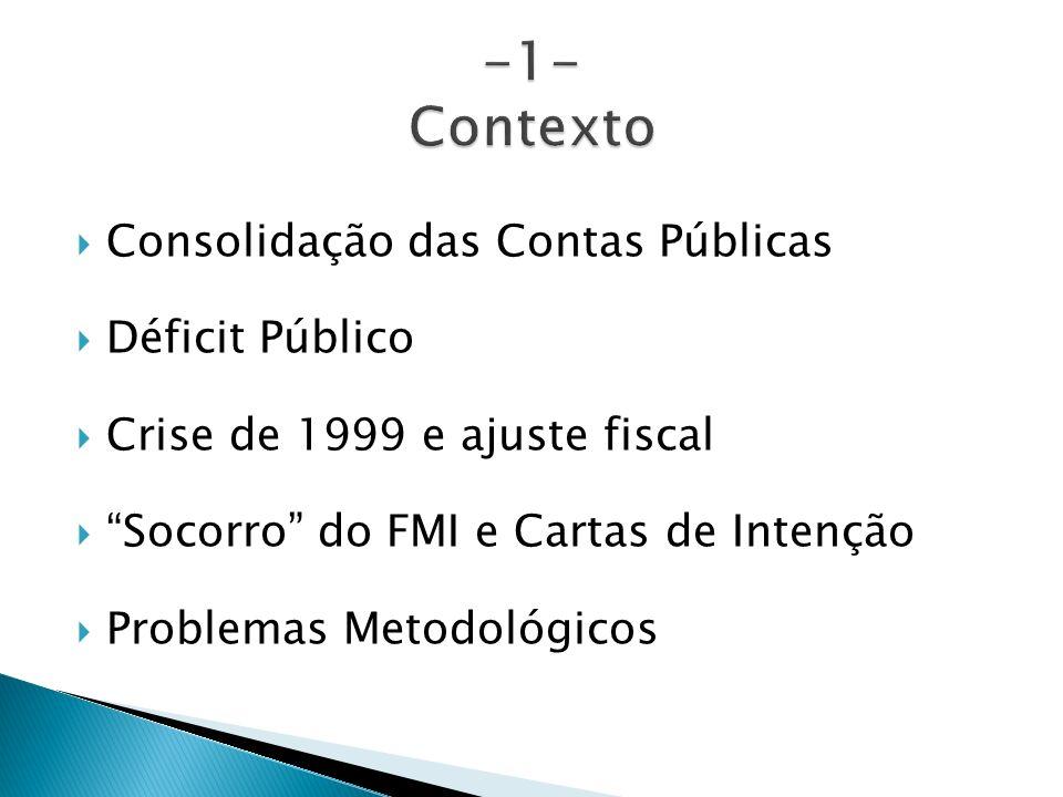 -1- Contexto Consolidação das Contas Públicas Déficit Público
