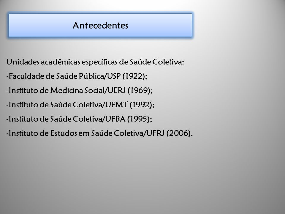 Antecedentes Unidades acadêmicas específicas de Saúde Coletiva:
