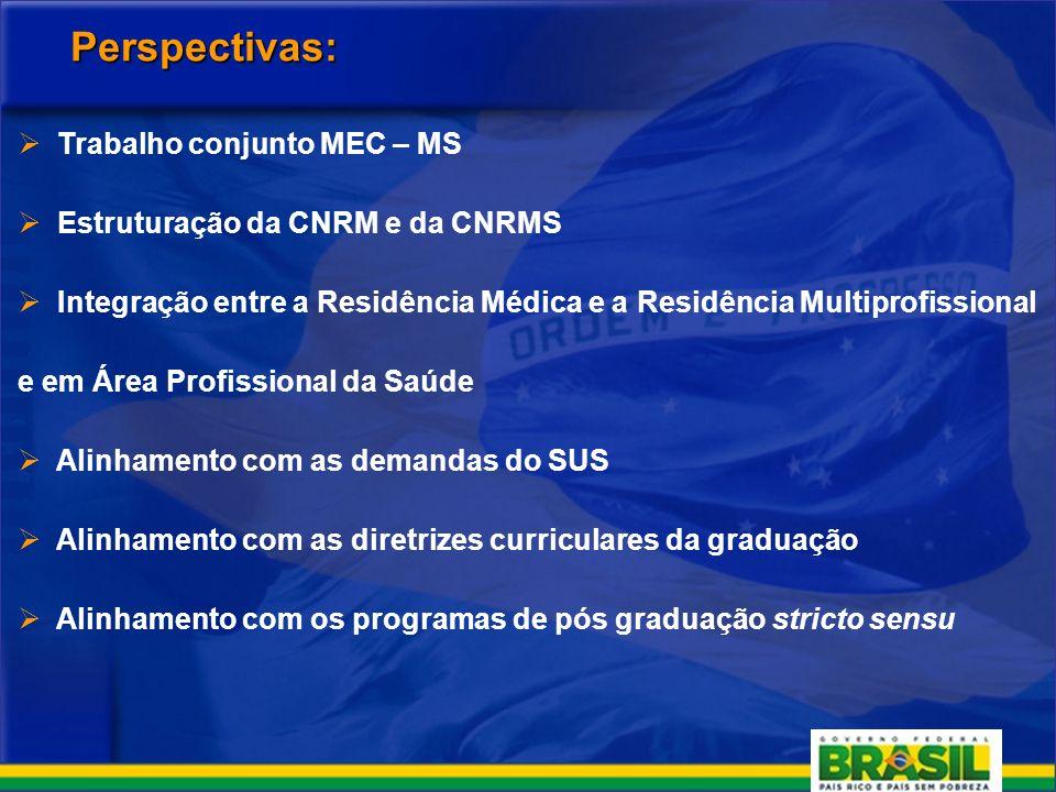 Perspectivas: Trabalho conjunto MEC – MS