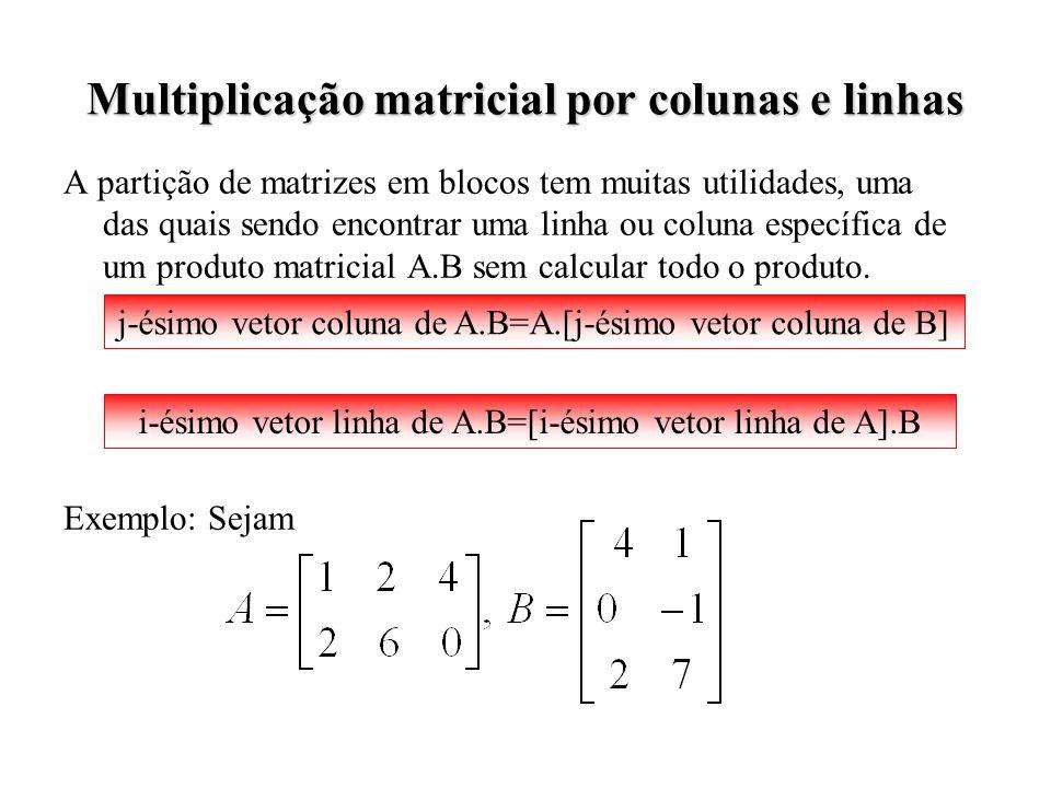 Multiplicação matricial por colunas e linhas