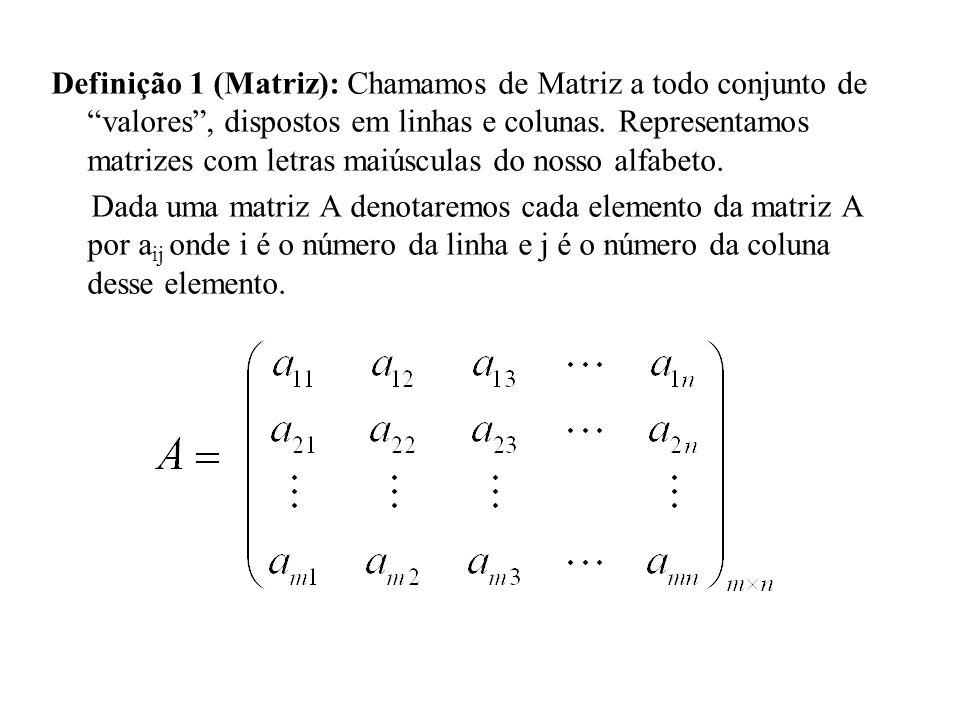 Definição 1 (Matriz): Chamamos de Matriz a todo conjunto de valores , dispostos em linhas e colunas. Representamos matrizes com letras maiúsculas do nosso alfabeto.
