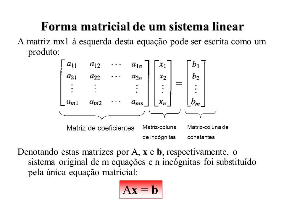 Forma matricial de um sistema linear
