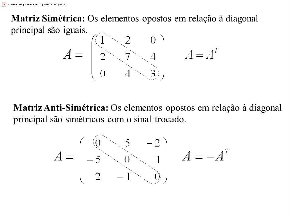 Matriz Simétrica: Os elementos opostos em relação à diagonal principal são iguais.