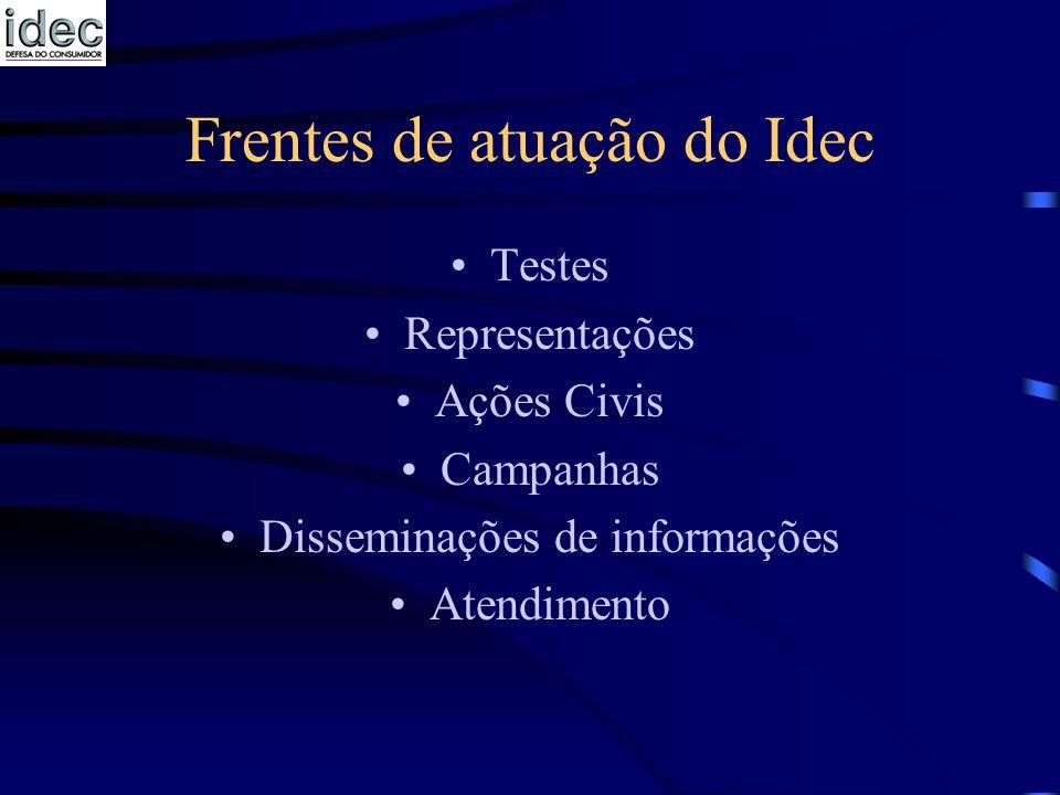 Frentes de atuação do Idec