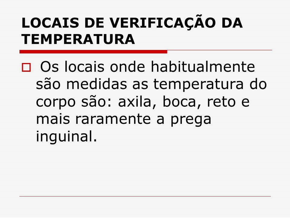 LOCAIS DE VERIFICAÇÃO DA TEMPERATURA