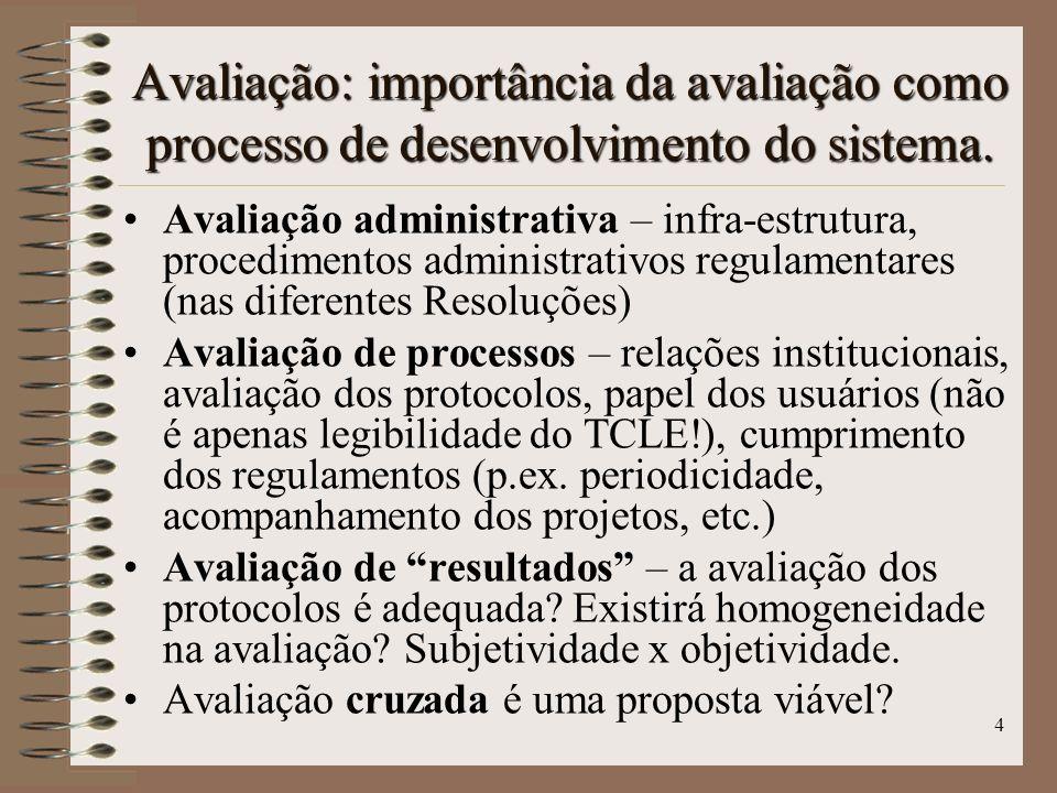Avaliação: importância da avaliação como processo de desenvolvimento do sistema.