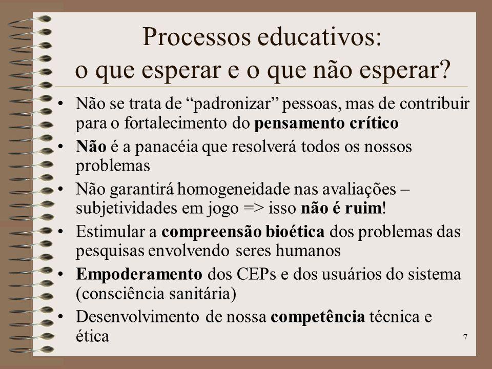 Processos educativos: o que esperar e o que não esperar