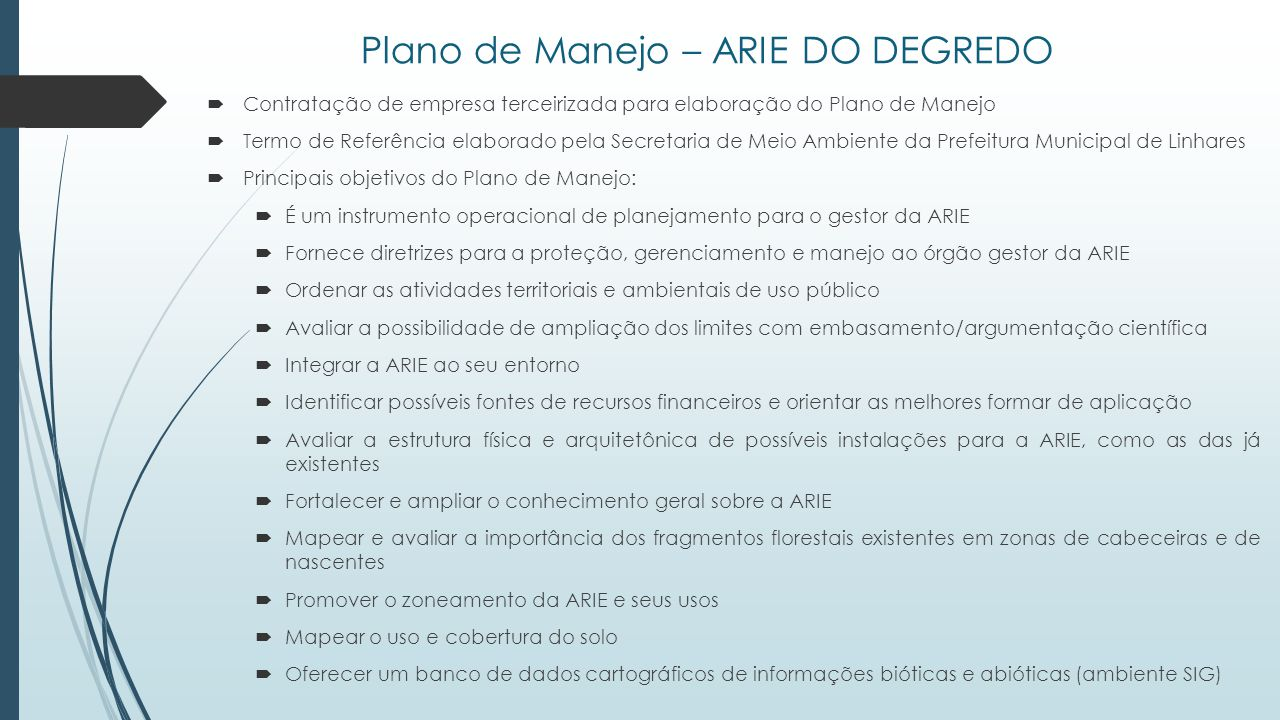Plano de Manejo – ARIE DO DEGREDO