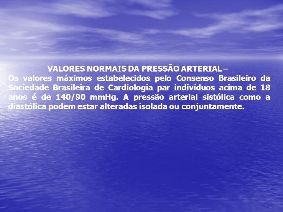VALORES NORMAIS DA PRESSÃO ARTERIAL –