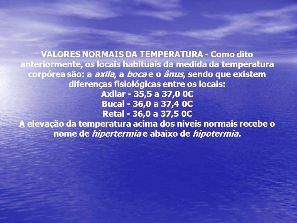 VALORES NORMAIS DA TEMPERATURA - Como dito anteriormente, os locais habituais da medida da temperatura corpórea são: a axila, a boca e o ânus, sendo que existem diferenças fisiológicas entre os locais: