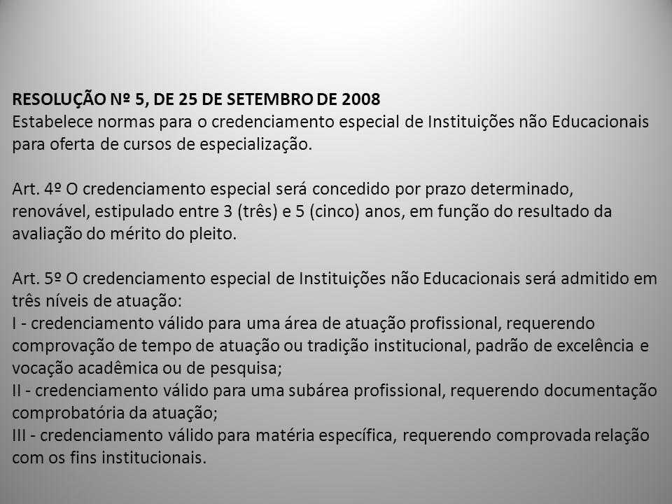 RESOLUÇÃO Nº 5, DE 25 DE SETEMBRO DE 2008