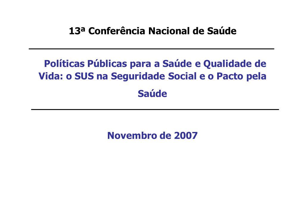 13ª Conferência Nacional de Saúde Políticas Públicas para a Saúde e Qualidade de Vida: o SUS na Seguridade Social e o Pacto pela Saúde Novembro de 2007