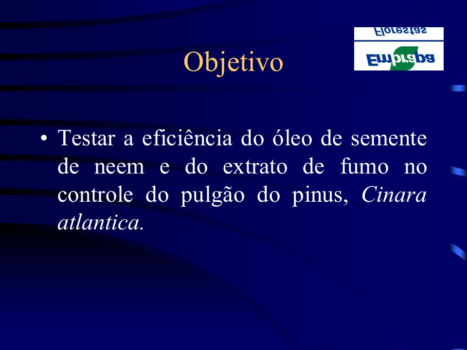 Objetivo Testar a eficiência do óleo de semente de neem e do extrato de fumo no controle do pulgão do pinus, Cinara atlantica.