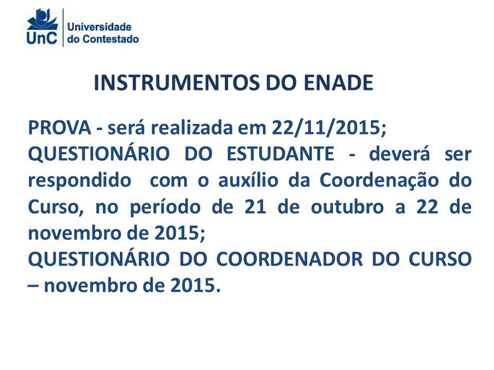 INSTRUMENTOS DO ENADE PROVA - será realizada em 22/11/2015;