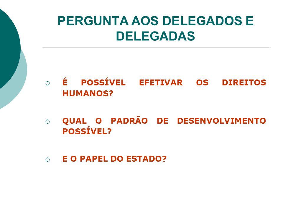 PERGUNTA AOS DELEGADOS E DELEGADAS