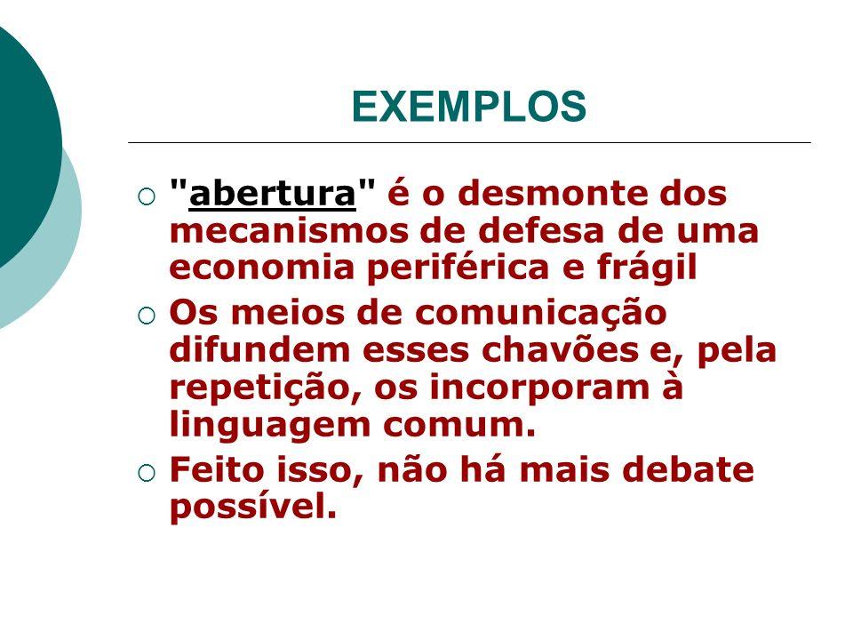 EXEMPLOS abertura é o desmonte dos mecanismos de defesa de uma economia periférica e frágil.